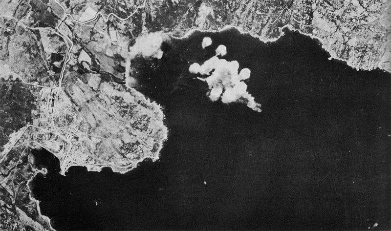 Bombs from B-17s hitting Italian heavy cruiser Trieste, 10 April 1943 (US Army Air Forces photo)
