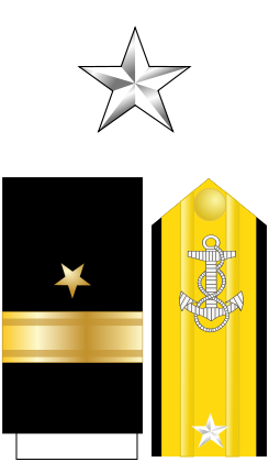 Collar, shoulder, and sleeve insignia of the rank of commodore, US Navy, WWII (public domain via Wikipedia)