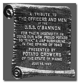 Plaque commemorating the USS O'Bannon potato incident (US Navy photo)