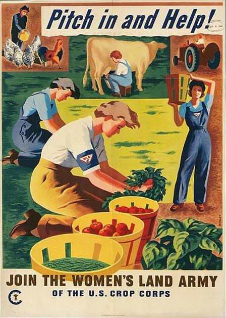 US poster for the Women's Land Army, WWII