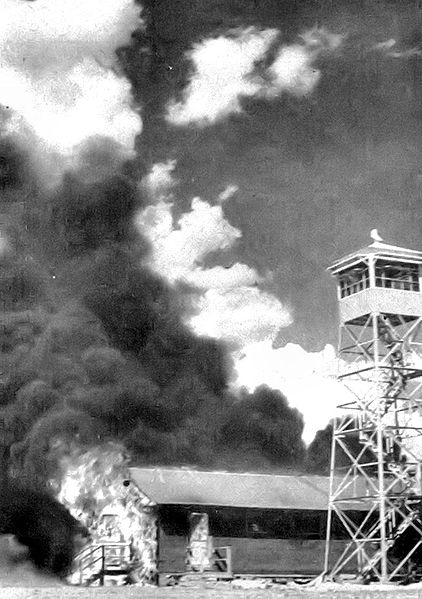 Fire caused by errant bats from the experimental bat bomb, Carlsbad Army Air Base, NM, 15 May 1943 (US Army Air Force photo)