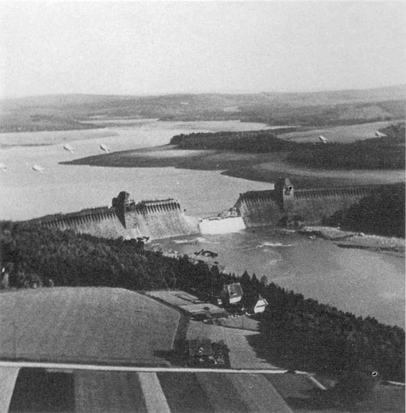 Möhne Dam in Germany after the RAF Dambuster Raid, 18 May 1943 (British Government photo)