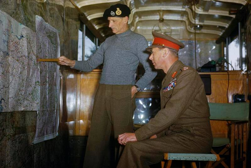 King George VI with Gen. Bernard Montgomery at British 21st Army Group Headquarters in the Netherlands, 13 Oct 1944 (Imperial War Museum)