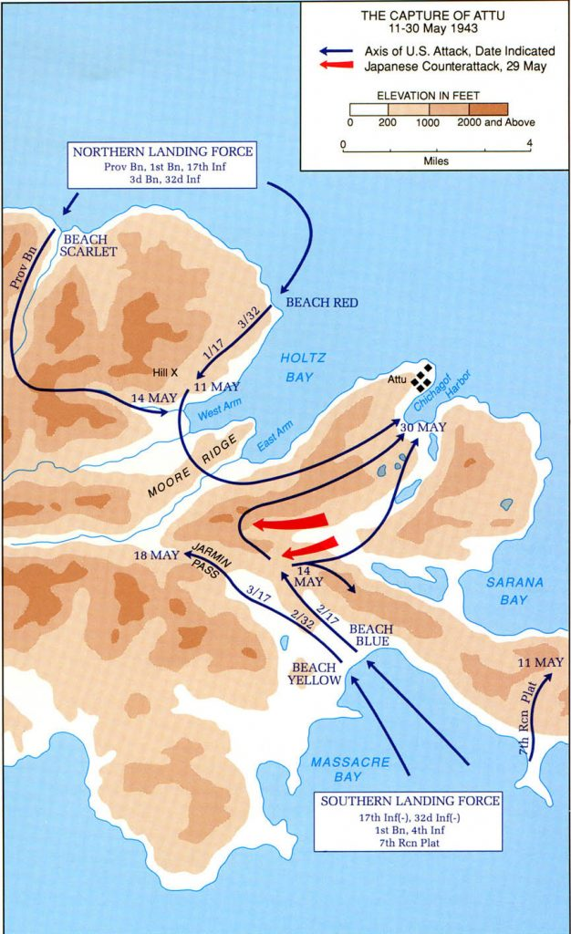 Map of US Army operations on Attu in the Aleutians, May 1943 (US Army Center of Military History)