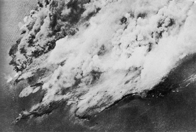 Allied air raid on Pantelleria Island in the Mediterranean, May-June 1943 (US Army Air Force photo)