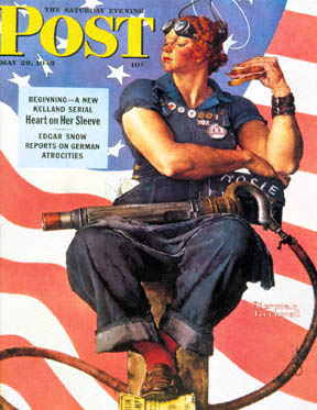 "Norman Rockwell's ""Rosie the Riveter"" on the cover of the Saturday Evening Post, 29 May 1943 (Fair use via Wikipedia)"