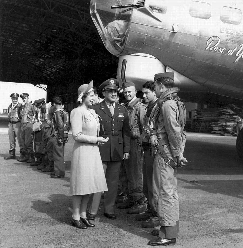 Princess Elizabeth with B-17G Rose of York of the US 306th Bombardment Group, Thurleigh, England, 6 July 1944 (US Army Air Forces photo)