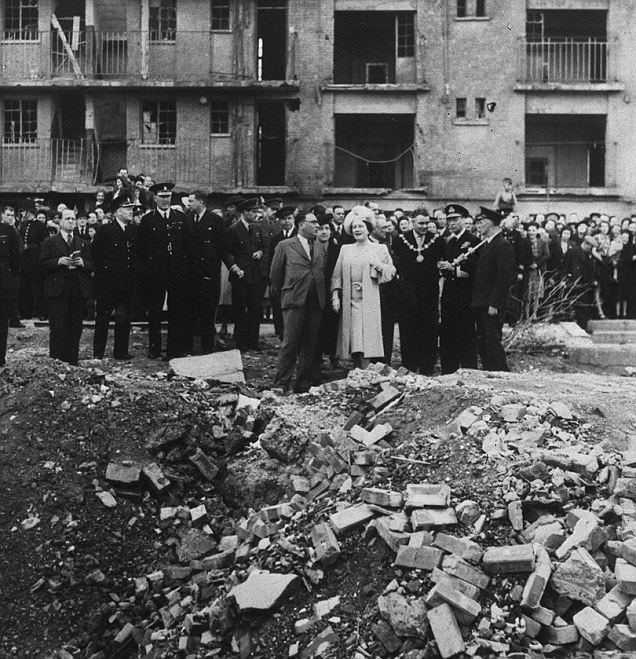 King George VI and Queen Elizabeth visit the East End, the site of the last V-2 to fall on London on 27 Mar 1945, visiting on 4 Oct 1945 (United Kingdom National Archives)