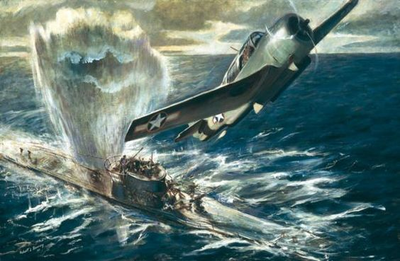 """The Kill"" by Robert Benney: TBF Avenger drops depth bombs around a U-boat (Navy Art Collection, Naval History and Heritage Command)"