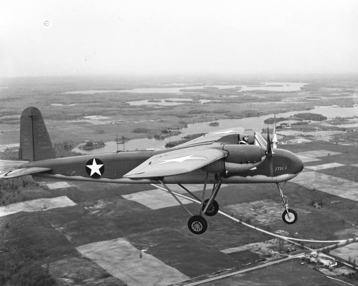 Navy Lt. C.C. Corley flying TDN-1 attack drone on its first (piloted) test flight from Traverse City, MI, 19 May 1943 (US Navy photo)