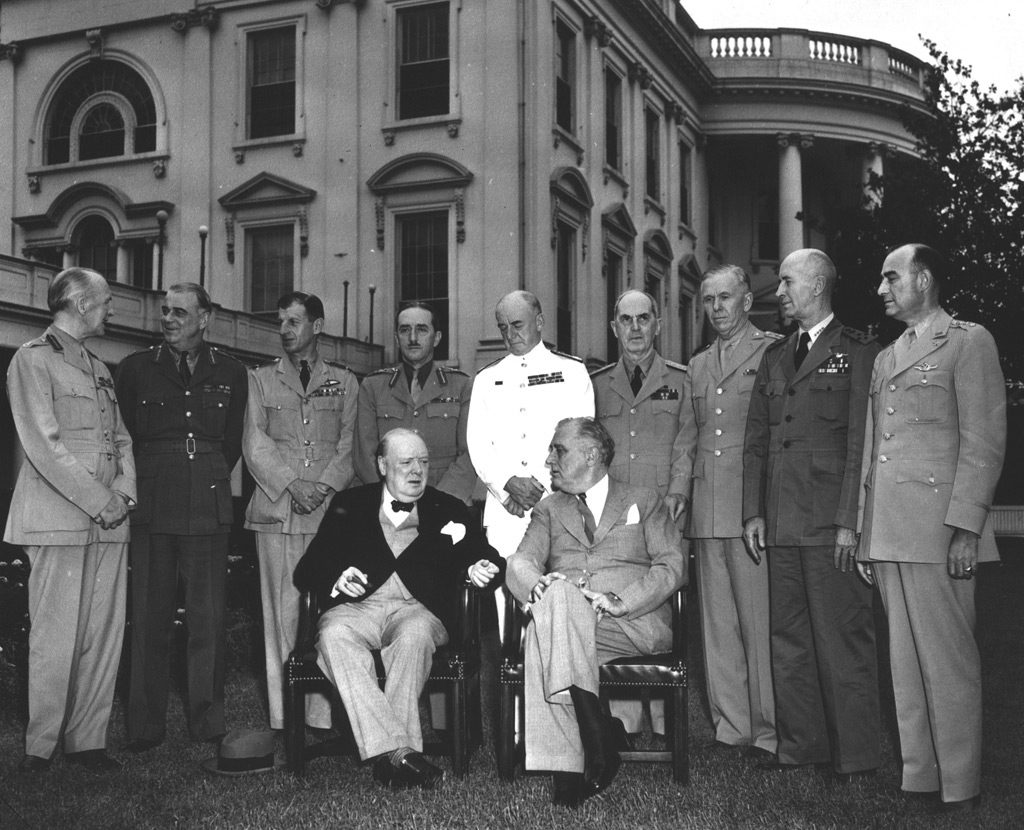 Franklin Roosevelt and Winston Churchill at the White House during the Trident Conference, Washington DC, 24 May 1943 (Franklin D. Roosevelt Presidential Library and Museum)