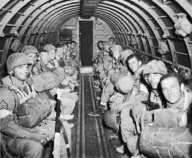 Paratroopers of the US 82nd Airborne Division on a C-47 bound for Sicily, July 1943 (US Army Center of Military History)