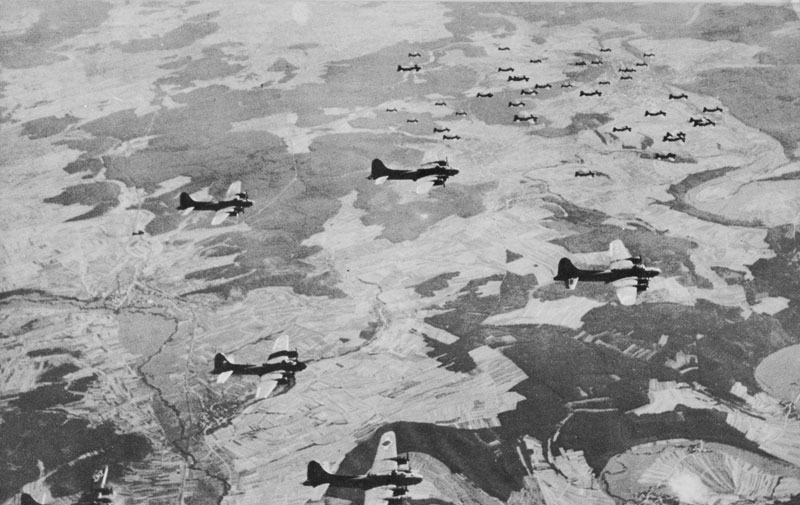 US Eighth Air Force B-17s in formation, 1943 (US Army Air Force photo)