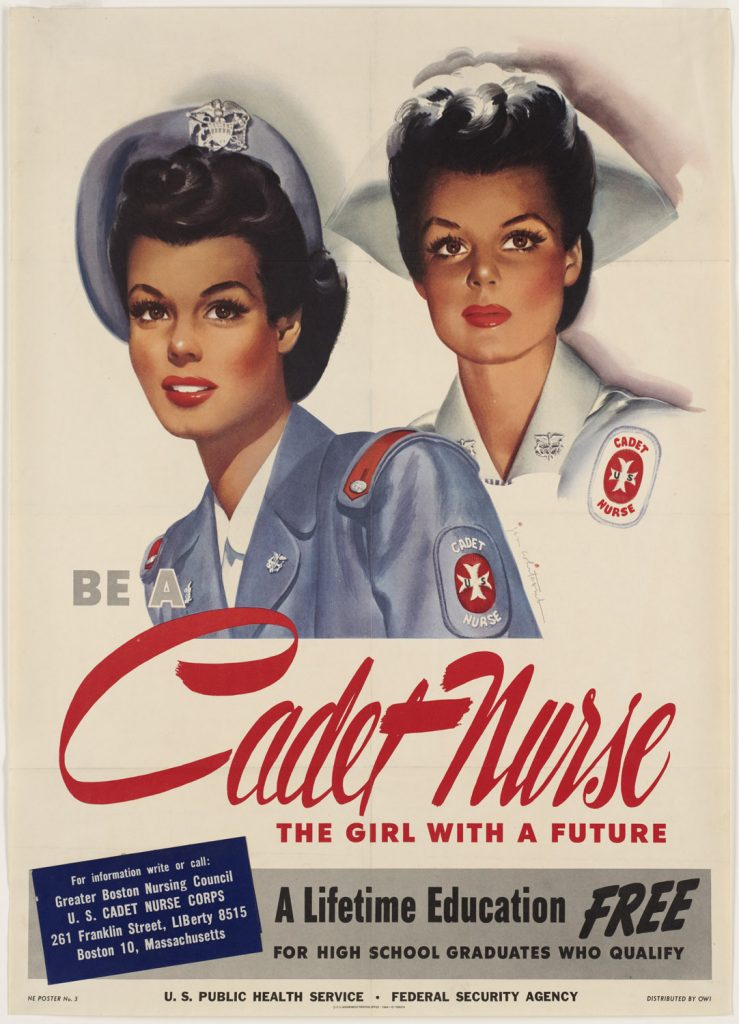 Recruiting poster for US Cadet Nurse Corps, WWII