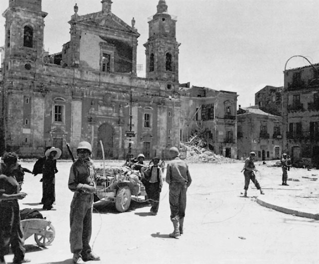 US Army Signal Corps troops in Caltanissetta, Sicily, after 17 July 1943 (US Army Center of Military History)