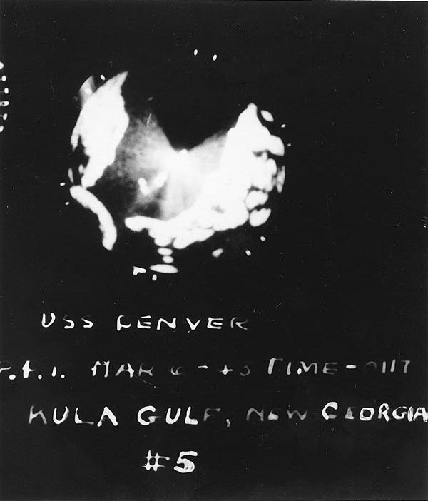 SG radarscope image from light cruiser USS Denver showing Battle of Kula Gulf situation at 0117 on 6 Jul 1943 (US Naval History & Heritage Command)