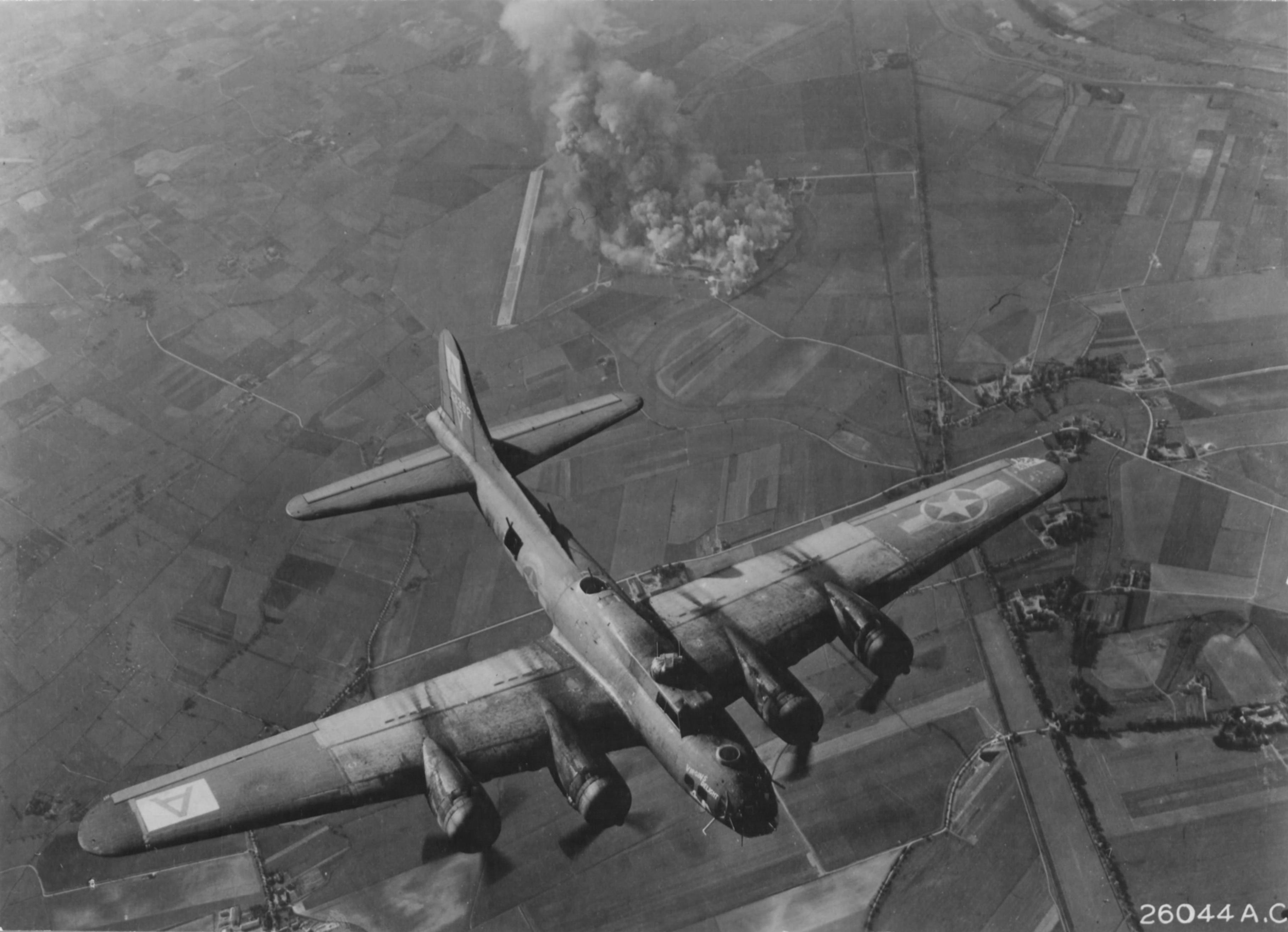 B-17 Flying Fortress bomber of the US 94th Bombardment Group bombing Focke-Wulf aircraft factory, Marienburg, Germany, 9 October 1943 (US National Archives)