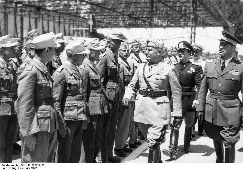 Benito Mussolini inspecting German troops, Sicily, Italy, 25 Jun 1942 (German Federal Archive: Bild 146-2006-0101)
