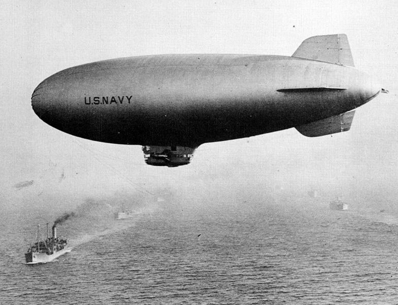 US Navy blimp K-110 of Airship Patrol Squadron ZP-42 escorting a convoy along Brazilian coast, 1943-45 (US Navy photo)