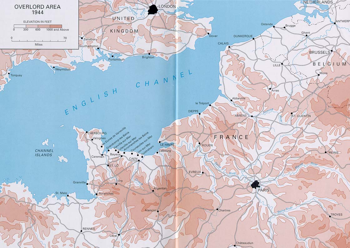 Map of Operation Overlord area, 1944 (US Army Center of Military History)
