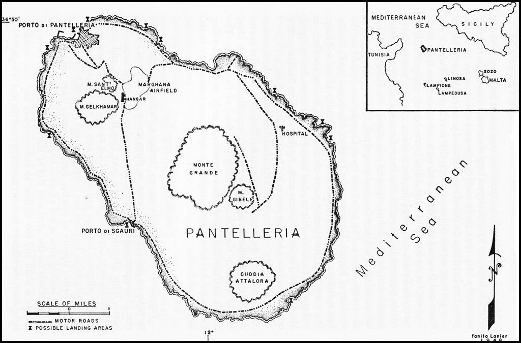 Map showing Pantelleria and the Pelagie Islands, including Lampedusa, in the Mediterranean (US Army Air Forces map)