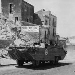 US DUKW carrying supplies in Porto Empedocle, Sicily (US Army Center of Military History)