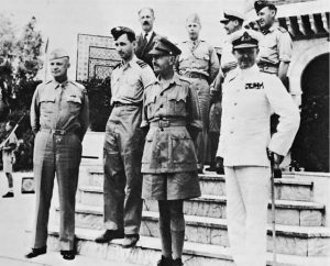 Allied leaders in the Sicilian campaign: Gen. Dwight Eisenhower, Air Chief Marshal Sir Arthur Tedder, Gen. Sir Harold Alexander, Adm. Sir Andrew B. Cunningham (US Army Center of Military History)