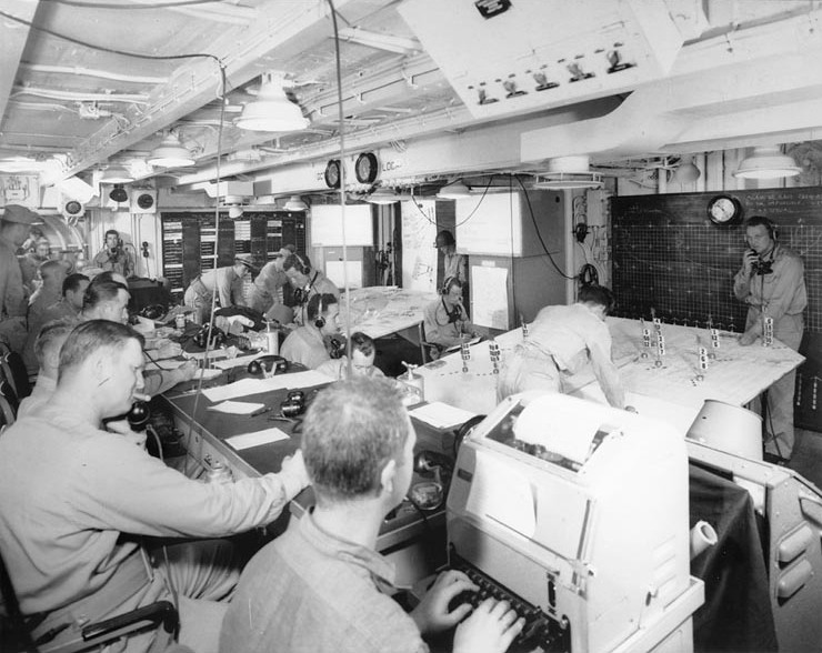 Joint Operations Room aboard general communications ship USS Ancon, Oran, Algeria, 3 Jul 1943 (US National Archives)