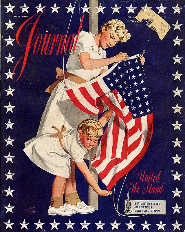 "Cover of Ladies' Home Journal for the ""United We Stand"" campaign, 4 July 1942"