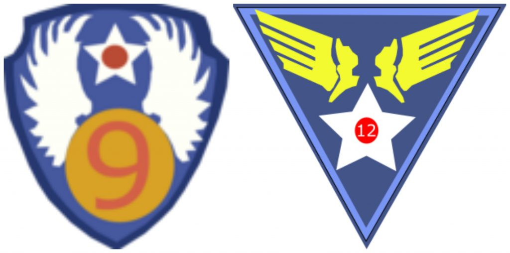 Patches of the US Ninth and Twelfth Air Forces, WWII