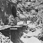 """The """"Bridge in the Sky"""" hung by US Army 10th Engineer Battalion, Cape Calava, Sicily, 13 Aug 1943 (US Army Center of Military History)"""