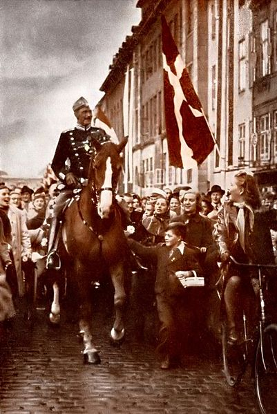 King Christian X riding through Copenhagen on his 70th birthday, 26 September 1940 during the German occupation of Denmark (public domain via Wikipedia)