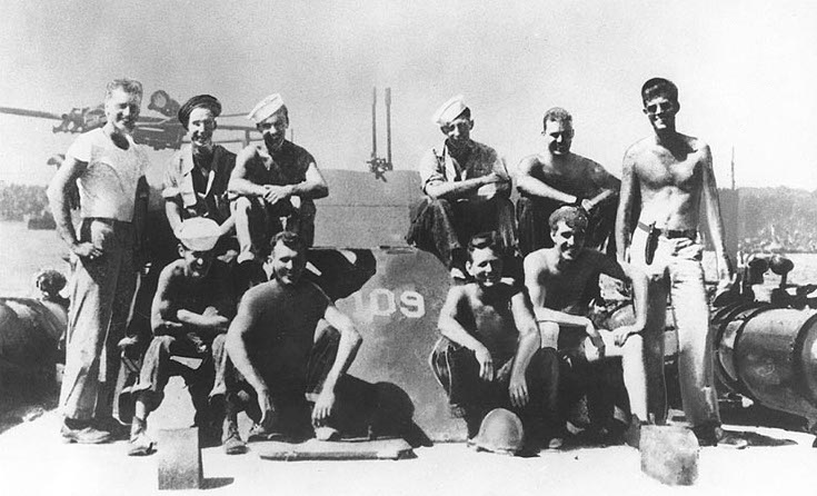 PT-109 and crew, 1943, Lt. John F. Kennedy at right (US National Archives)