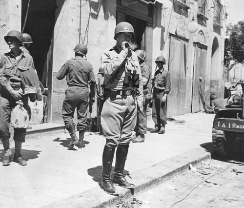 Gen. George Patton in Gela, Sicily, July 1943 (US National Archives)