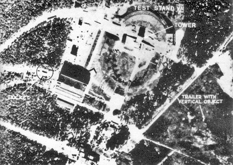 Royal Air Force reconnaissance photograph of V-2 rocket test sites at Peenemünde, Germany, 12 June 1943 (British government photo)