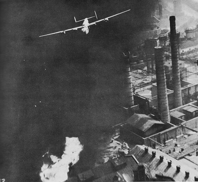 US B-24D Liberator The Sandman over the burning Astra Romania oil refinery in Ploesti, Romania, Aug 1 1943 (US National Archives)