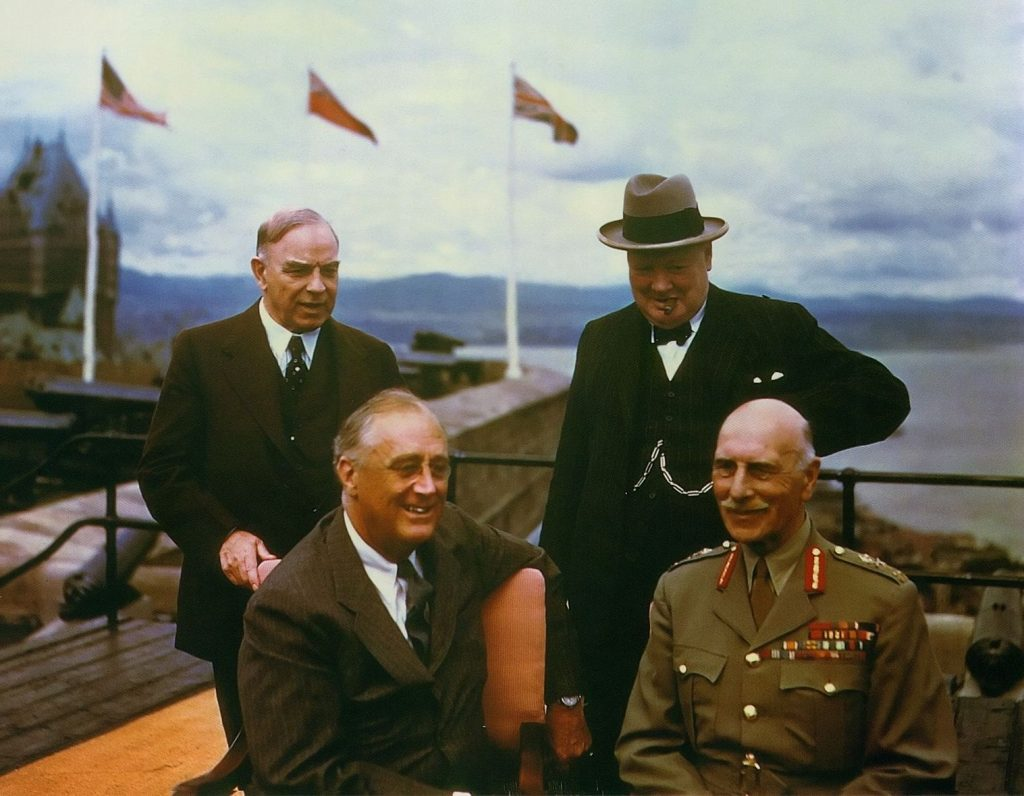 Franklin Roosevelt, the Earl of Athlone, Mackenzie King, and Winston Churchill on the terrace at the Citadelle, Québec, Canada, Aug 1943 (Source: Imperial War Museum: TR 1347)