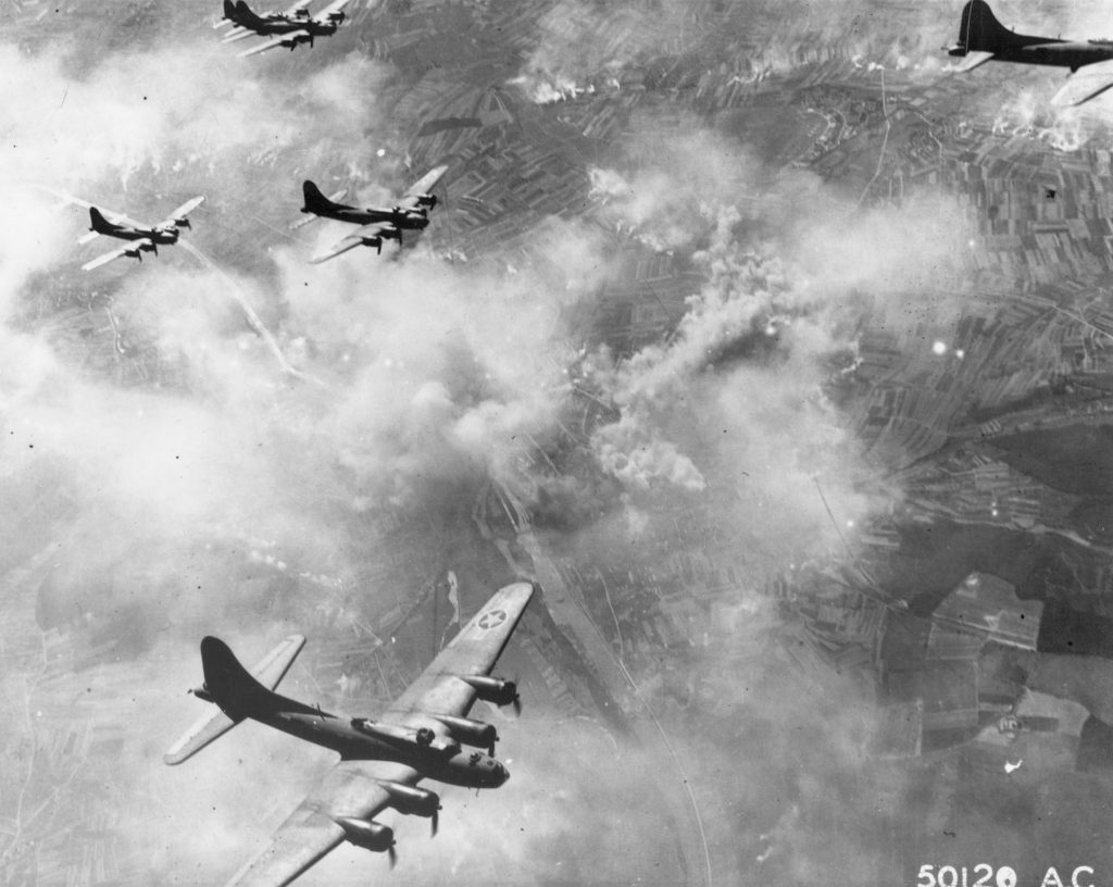 B-17 Flying Fortress bombers of the US Eighth Air Force over Schweinfurt, Germany, 17 August 1943 (USAF photo)