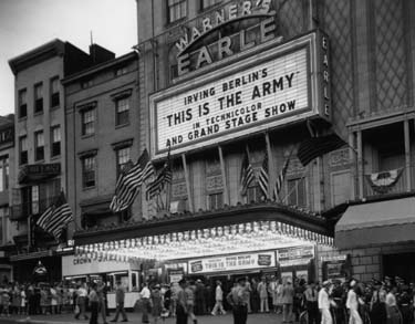 This Is the Army movie premiere at Warner's Earle Theater in Washington, D.C., on August 12, 1943. (US National Archives: 111-SC-178981)