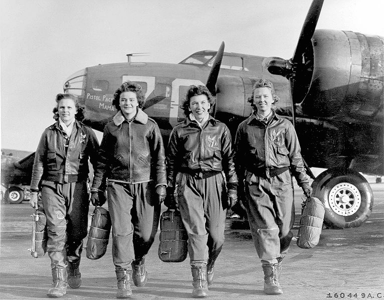 "Frances Green, Margaret (Peg) Kirchner, Ann Waldner and Blanche Osborn leaving their B-17, ""Pistol Packin' Mama,"" at the four-engine school at Lockbourne AAF, Ohio, during WASP ferry training (USAF photo)"