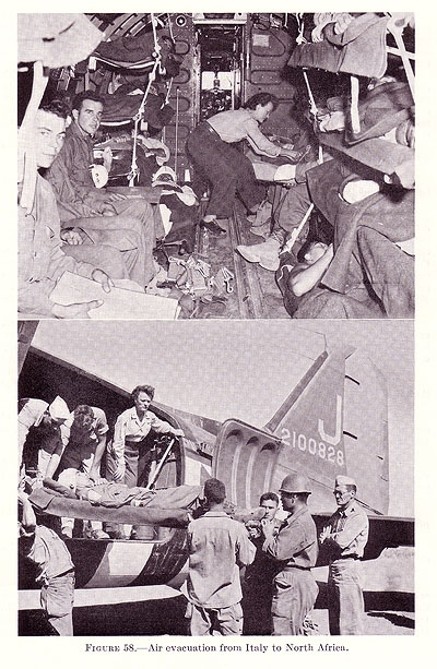 US medical air evacuation from Italy to North Africa, 1943 (US Army Medical Department photo)