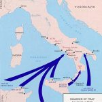 Map showing Allied invasion of Italy on September 3, 1943 (British at Reggio di Calabria) and on September 9, 1943 (US & British at Salerno and Taranto) [Map: US Army Center of Military History]