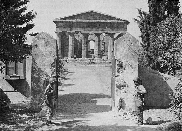 US guards at the Temple of Neptune, Paestum, Italy, which served as US Fifth Army HQ after the landings at Salerno, Italy, September 1943 (US National Archives)
