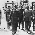 Italian Premier Pietro Badoglio and Gen. Dwight Eisenhower on battleship HMS Nelson for Italian surrender to Allies at Malta, 29 September 1943 (US Army Center of Military History)