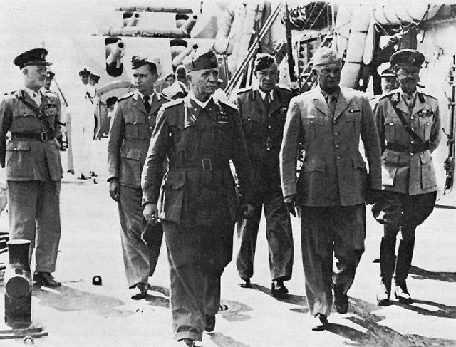 Italian Premier Pietro Badoglio and Gen. Dwight Eisenhower on battleship HMS Nelson for Italian surrender to Allies at Malta, 29 September 1943 (US Army Center of Military History)