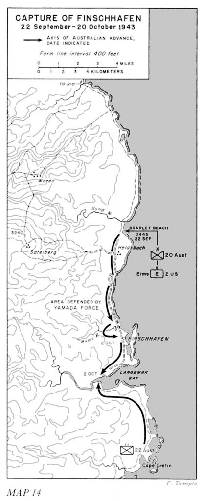 Map of the Australian offensive on Finschhafen, New Guinea, 22 Sept-20 Oct 1943 (US Army Center of Military History)