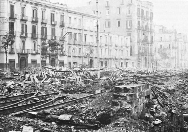 Wreckage in the dock area of Naples, Italy, caused by the Germans before they left the city, 1943 (US Army Center of Military History)