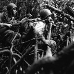 US Army infantrymen fighting in the jungles of Vella Lavella, Solomon Islands, 13 September 1943 (US Army Signal Corps photo)