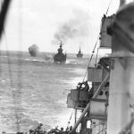 USS Minneapolis, USS San Francisco, and USS New Orleans bombard Wake Island, 5 Oct 1943 (US National Archives)