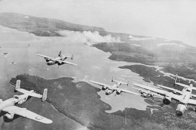US Thirteenth Air Force B-25 bombers over Bougainville, 1944 (US Air Force photo)